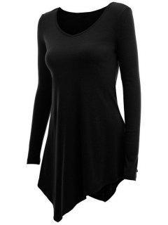Irregular Hem V Neck Long Sleeve T-Shirt - Black L
