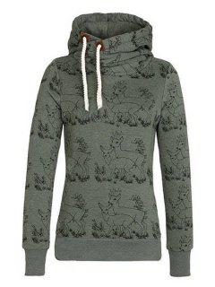 Fawn Print Stand Neck Long Sleeve Sweatshirt - Army Green Xl