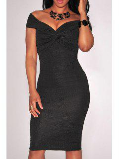 Off-The-Shoulder Ruched Bodycon Dress - Black L
