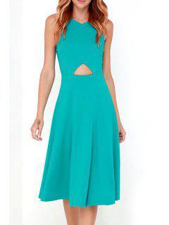 Back Zipper Spaghetti Straps Cut Out Solid Color Dress - Blue M