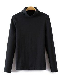 Turtle Neck Long Sleeve T-Shirt - Black M