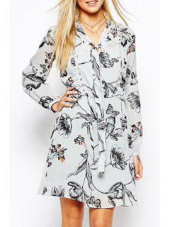 Butterfly Print Lace Spliced Long Sleeves Dress - White M