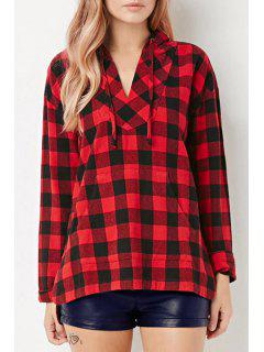 Red Checked Long Sleeve Pullover Hoodie - Red L