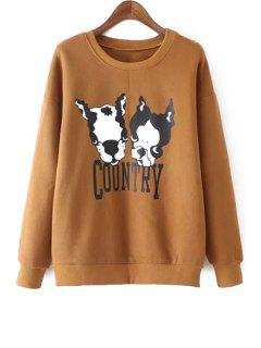 Long Sleeve Puppy Print Sweatshirt - Dark Khaki M