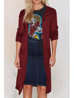Solid Color Pockets Long Rolled Cuff Sleeves Cardigan - Wine Red M