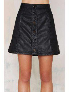 High Waisted Solid Color PU Leather Skirt - Black 2xl