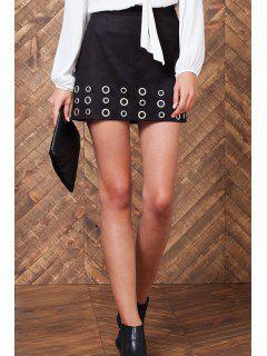 A-Line Metal Eyelets Suede Skirt - Black L