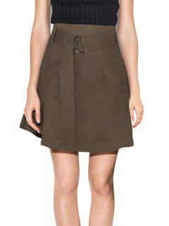 Solid Color High-Wisted Belt Women's Skirt - Dun 2xl
