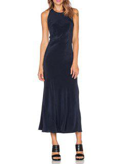 Navy Blue Sleeveless Backless Dress - Navy Blue Xl