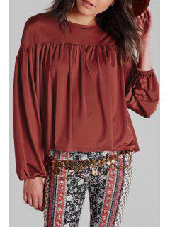 Chocolate Round Neck Long Sleeve Blouse - Chocolate 2xl