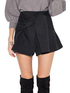 High-Waisted Solid Color Sashes Shorts - Black Xs