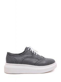 Engraving Lace-Up Pure Color Platform Shoes - Gray 38