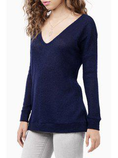 Solid Color Back Cut Out Plunging Neck Sweater - Blue M