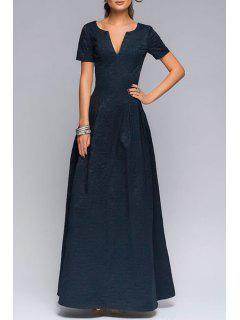 Short Sleeve Fit And Flare Prom Dress - Deep Blue Xl