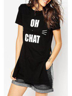 Letter And Cartoon Print Short Sleeves T-Shirt - Black Xl