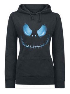 Front Pocket Printed Pullover Hoodie - Black L