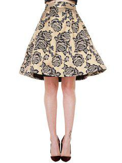 Retro Floral Print High Waisted A-Line Skirt - Champagne Xs