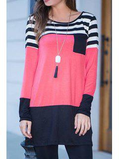 Stripes Spliced Scoop Neck Long Sleeve Dress - Pink S