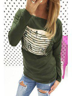Letters Print Scoop Neck Long Sleeve T-Shirt - Army Green L