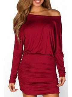 Pure Color Ruched Waisted Sloping Neck Dress - Wine Red M