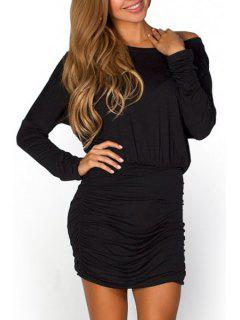 Pure Color Ruched Waisted Sloping Neck Dress - Black M