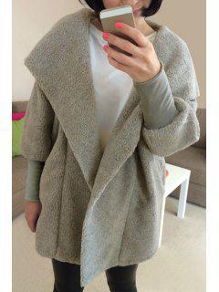 Faux Lamb Wool Long Sleeve Hooded Coat - Light Gray M