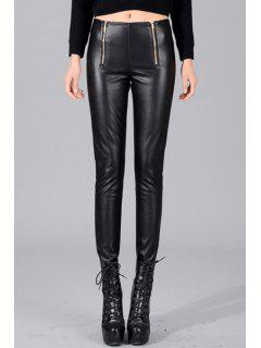 Zippered PU Leather Pencil Pants - Black L