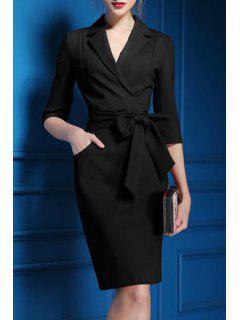 Lapel Self-Tie Belt Midi Dress - Black Xl