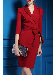 Lapel Self-Tie Belt Midi Dress - Red M