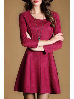 3/4 Sleeve Fit And Flare Suede Dress - Red M