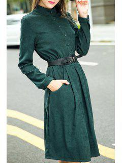 Long Sleeve Fit And Flare Suede Dress - Deep Green L