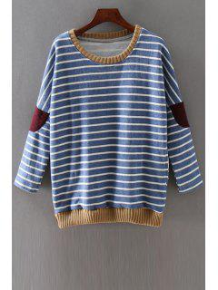 Striped Applique Patch Round Neck Long Sleeves Sweatshirt - Blue