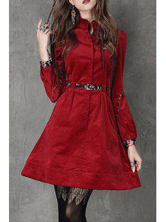 Stand Neck Red Corduroy Dress With Belt - Red L