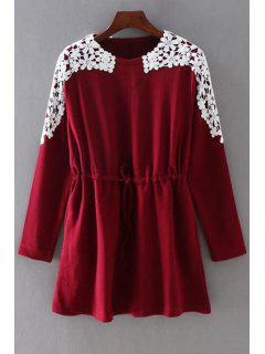 Drawstring Lace Spliced Round Collar Long Sleeves Dress - Wine Red 2xl