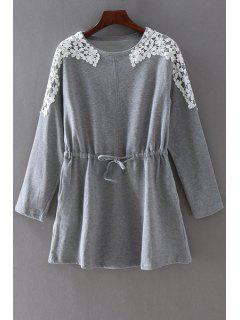 Drawstring Lace Spliced Round Collar Long Sleeves Dress - Gray 3xl