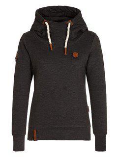 Pure Color Long Sleeves Pullover Hoodie - Black 2xl