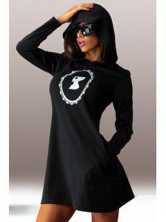 Hooded Long Sleeve Figure Print Dress - Black S