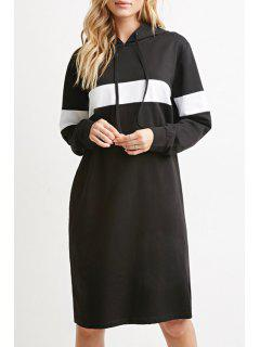 Black And White Hooded Long Sleeve Dress - Black L