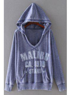 Letter Print Hooded Neck Long Sleeves Hoodie - Purple Xl