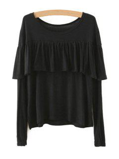 Tassels Spliced Long Sleeve T-Shirt - Black L
