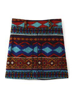 Geometric Pattern High Waist A Line Skirt - Red M