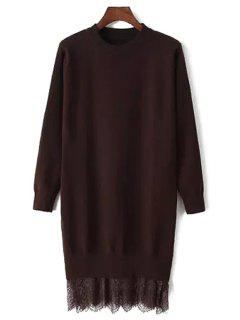 Lace Spliced Round Neck Long Sleeve Jumper - Coffee