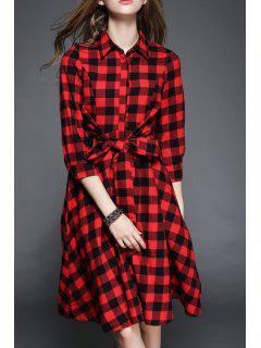 Plaid Drawstring Flat Collar 3/4 Sleeves Shirt Dress - Red Xl