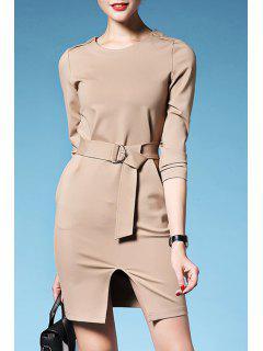 Solid Color Waisted Elegant Front Slit Round Collar Dress - Khaki L