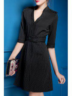Striped Waisted Elegant V-Neck Half Sleeves Dress - Black M