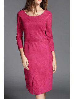 Solid Color Front Slit Suede Slimming Round Collar Dress - Rose Xl