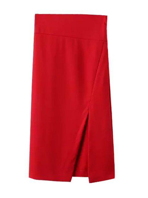 women Side Slit Stylish Solid Color Women's Skirt - RED M Mobile