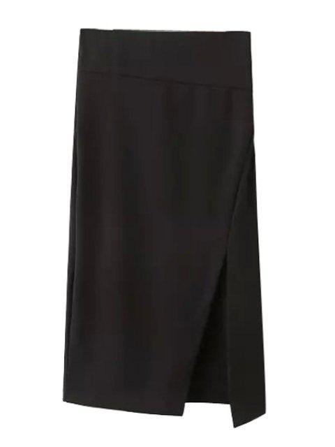 outfits Side Slit Stylish Solid Color Women's Skirt - BLACK L Mobile