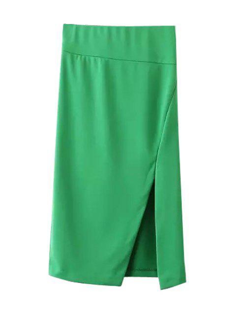 shops Side Slit Stylish Solid Color Women's Skirt - GREEN S Mobile