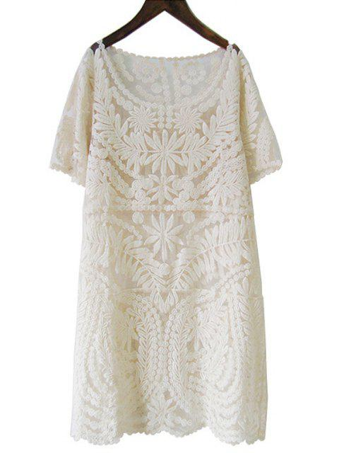 new Pure Color Short Sleeve Lace Dress - APRICOT L Mobile